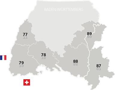 Karte der Vertriebsgebiete