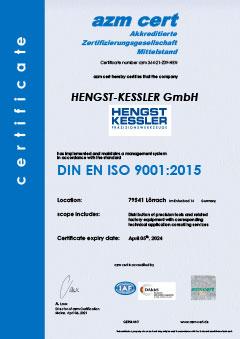 Zertifikat DIN ISO 9001:2015 Hengst-Kessler